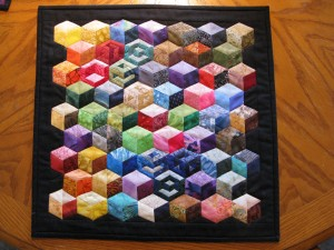 My own paper piecing tumbling blocks design